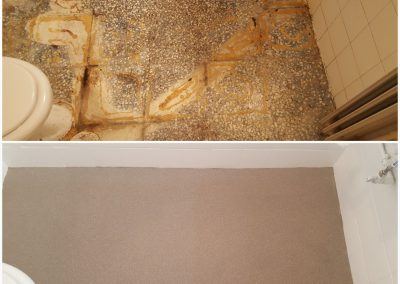 Δάπεδο μπάνιου με πολλαπλές ζημιές επιστρώθηκε με χαλαζιακή επένδυση. Εφόσον, αποκαταστήθηκαν όλες οι εκτεταμένες φθορές και η λείανση του δαπέδου, εφαρμόστηκε αστάρι και κατόπιν οι χαλαζιακές ψηφίδες.
