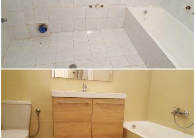 Αναδιαμόρφωση μπάνιου. Απομάκρυνση παλαιών ειδών υγιεινής με αντικατάσταση νέων από το συνεργείο μας. Νέο, μοντέρνο μπάνιο μόλις σε 2 ημέρες. Ζητήστε προσφορά. Περιοχή Πατήσια